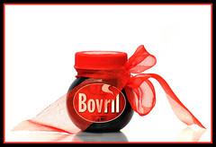 Ahhhh Bovril (day 38) (EssjayNZ) Tags: red whitebackground jar ribbon essjaynz worth1000 challenge 2010 bovril 365day