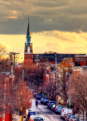 St Mary Star of the Sea (shiftdnb) Tags: road street sunset cloud color art church md colorful maryland baltimore steeple neighborhood runner goldenhour federalhill