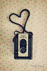 Camera Love........ (Kimberly Chorney) Tags: camera love vintage 50mm heart naturallight retro strap material textured argus