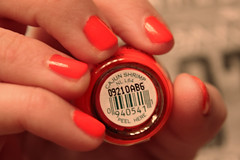 44.365 CAJUN SHRIMP (Kali Koldwater) Tags: pink red sea food orange color glass up coral bar bottle code paint hand close bokeh name nail fingers polish tip 365 lacquer opi