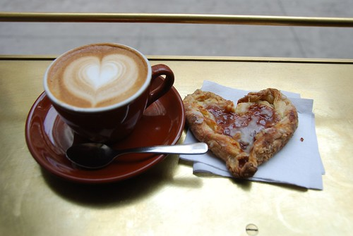 stumptown cappuccino and raspberry heart shaped danish for valentines day!