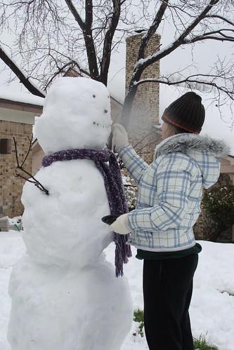 Building her 1st Snowman
