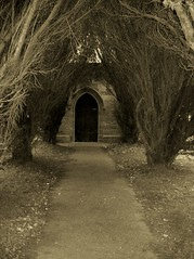 spooky (arlechinna) Tags: door path yew shifnal standrewsshifnal