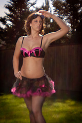 IMG_2306 (OregonVelo) Tags: pink portrait woman black female washington model bra diana tutu washougal googles dianalens speakeasylingerie pdxstrobist0210