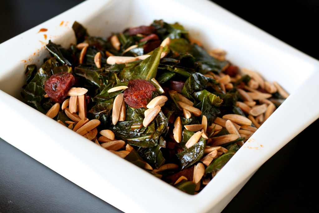 Spanish Collards w/Chorizo, Sherry & Almonds