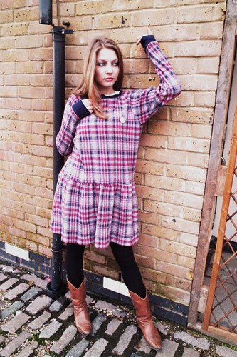 Manuela - QOS Red x Navy Check dress