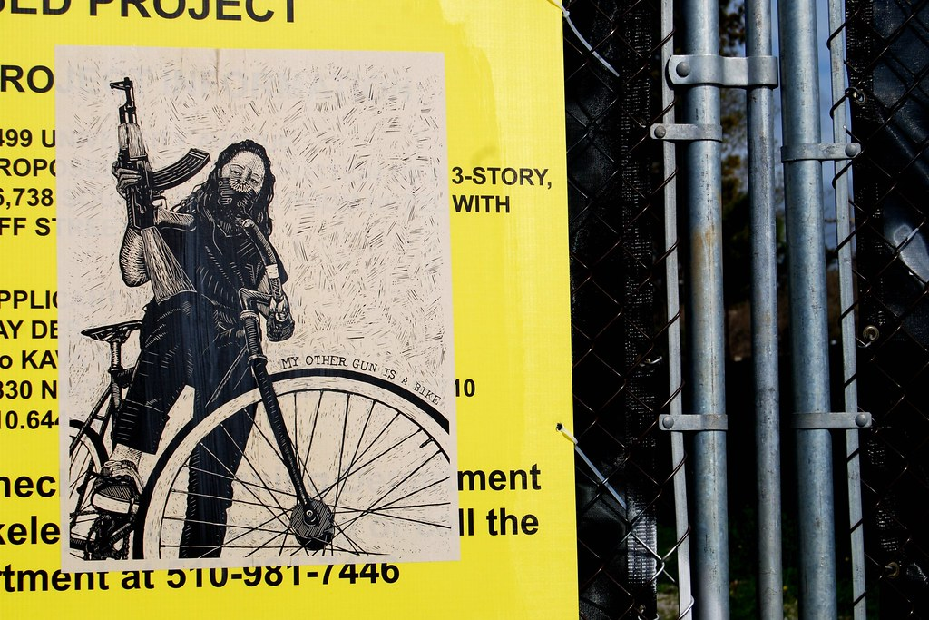 My Other Gun is a Bike Wheat Pasted Poster - Berkeley, California.