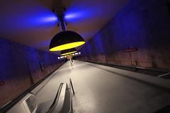 Tri (Bulsti) Tags: blue urban lines yellow fairytale underground munich mnchen steel deep tunnel terminal gelb ubahn u1 blau stein beton untergrund stahl linien westfriedhof bulsti fluchtpunkt