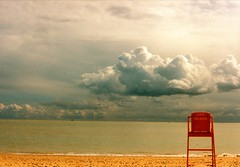 Empty (DJ Bass) Tags: life red film beach weather clouds landscape coast kent chair view empty horizon lifeguard coastal englishchannel ramsgate stormfront coastalliving 25faves djbass danbass