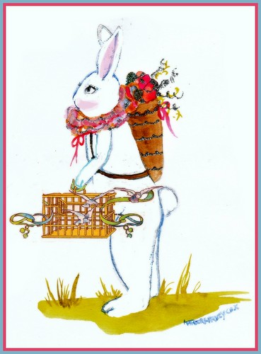 Easter bunny with bird cage of doves