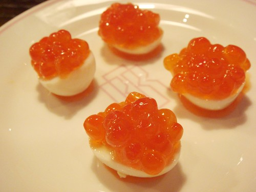 Salmon Roe On Hard Boiled Quail's Egg