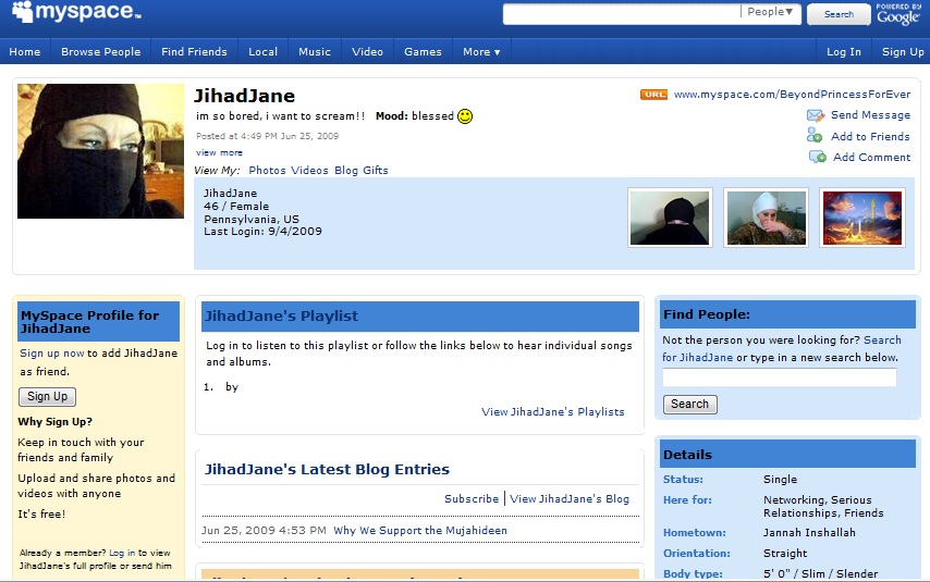 Screen shot of deleted MySpace page for Jihad Jane