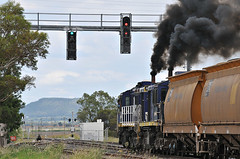 Emerald Hill Alco Emissions, 25/2/10 (&drew) Tags: diesel smoke australia trains signals newsouthwales locomotive railways freight levelcrossing alco emeraldhill pacificnational manildra dl531 grainhaulage nsw48class