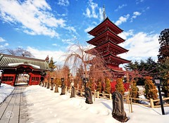 Pagoda in winter. (Hirosaki Japan).  Glenn Waters.  1,300  visits to this photo.  Thank you. (Glenn Waters in Japan.) Tags: winter snow statue japan temple japanese pagoda nikon shrine explore aomori hirosaki   japon     explored  d700 nikond700  photosjapan