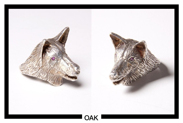 silver dog head ring with rubies