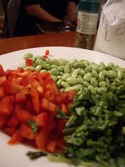 香菜、紅甜椒切丁、青豆仁