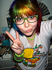 More peace!! (Megan is me...) Tags: blue red portrait orange color green colors smile up fashion rose yellow shirt self hair effects photography one diy clothing crazy rainbow eyes colorful neon pretty colours russell mckay bright cut unique awesome meg bart violet plum megan style nuclear special clothes kind fishbowl together iguana jerome colored tied piccolo tee mayhem simpson punky striped bleached kissmyass dyed stpatricksday napalm 2010 sfx rosered megface pogmothon meganisme bleachednapalmorange greenpiccolo
