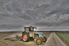 Traktor in Rheinhessen (Freimut) Tags: sky deutschland nikon traktor feld himmel wolken hdr fahrzeug trecker rheinhessen pflug