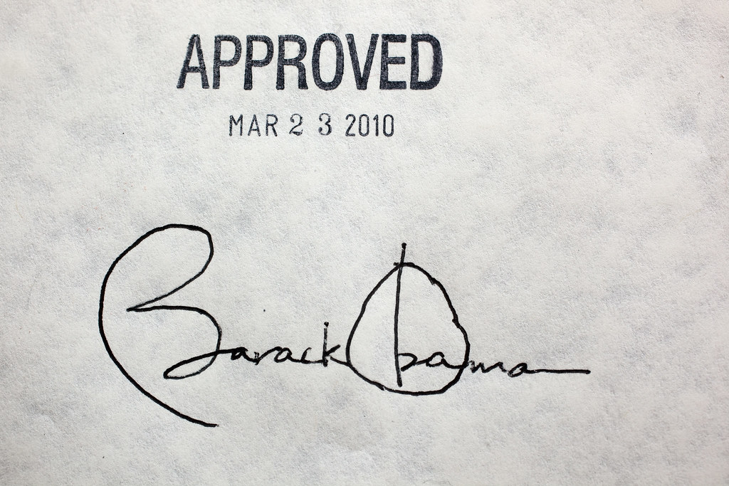 Barack Obama's Signature On Health Care Legislation