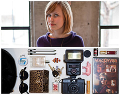 Mariel Diptych (J Trav) Tags: portrait fish sunglasses keys persona dvd holga diptych perfume wallet purse whatsinyourbag pens macgyver pokerchip mariel theitemswecarry burtsbeeschapstick 5secondgame