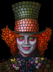 Mad Hatter - Johnny Depp (Ben Heine) Tags: wallpaper portrait detail art net colors hat flesh digital photoshop painting hair print poster eyes skin expression snake modernart circles decorative fame makeup lips yeux textures popart fanart madness hollywood round chapeau crocodile caricature expressive actor eccentric abstraction dots johnnydepp copyrights filet maquillage tictac madhatter dents teaparty rendering timburton aliceinwonderland waltdisney lewiscarroll ticktock pointillism acteur cheveux cs4 teethe influences cercles noeudpapillon mywinners aliceaupaysdesmerveilles benheine theunforgettablepictures chapelierfou circlism infotheartisterycom cerclisme