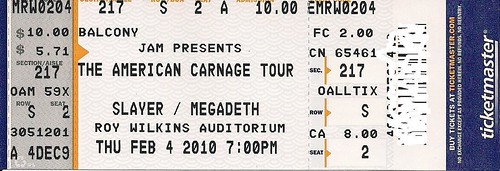 02/04/10 Slayer/Megadeth/Testament @ St. Paul, MN (Ticket)