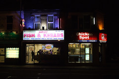 Maria's Fish & Kebabs (Daviddje) Tags: uk england food fish london chicken kitchen night neon maria burger chips snack fried battersea kebab shish