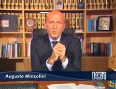 Minzolini durante un suo editoriale