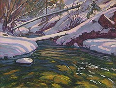 The Stream in Winter - 14 x 18""