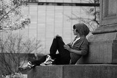 Smoke Break. (Erica Robyn) Tags: new york city boy columbus people blackandwhite bw circle hoodie spring cigarette smoke sneakers teen teenageer ericarobynphotography ericarobyn