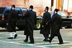 Abbey Road (Lori Foxworth) Tags: streetphotography abbeyroad crosswalk orthodox hasidic quotlorifoxworthquot quotlorifoxworthphotographyquot quotblackwhiteandrawquot quotyourdailycheesesteakquot