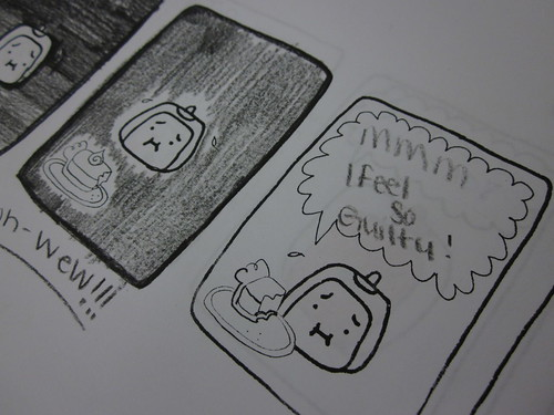 Tofu Baby comics with added art and text by high school students.