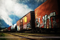 SLUT, Minneapolis, Minnesota (Seven Seconds Before Sunrise) Tags: railroad minnesota clouds train graffiti unitedstates slut tag minneapolis boxcar twincities railroadtrack