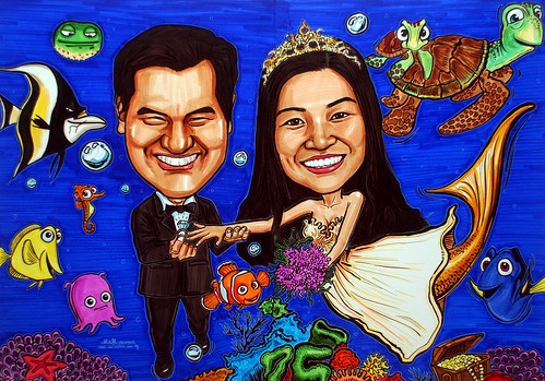 underwater Mermaid wedding couple caricatures A1 size -edited 2