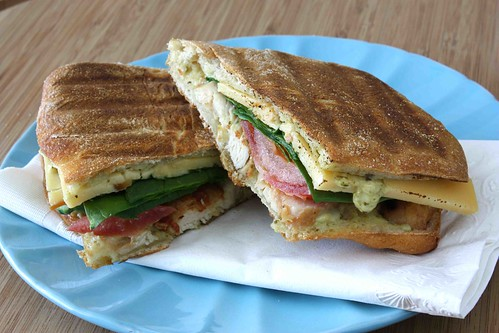 Grilled Chicken, Bacon & Smoked Gouda Panini Recipe with Pesto Mayonnaise