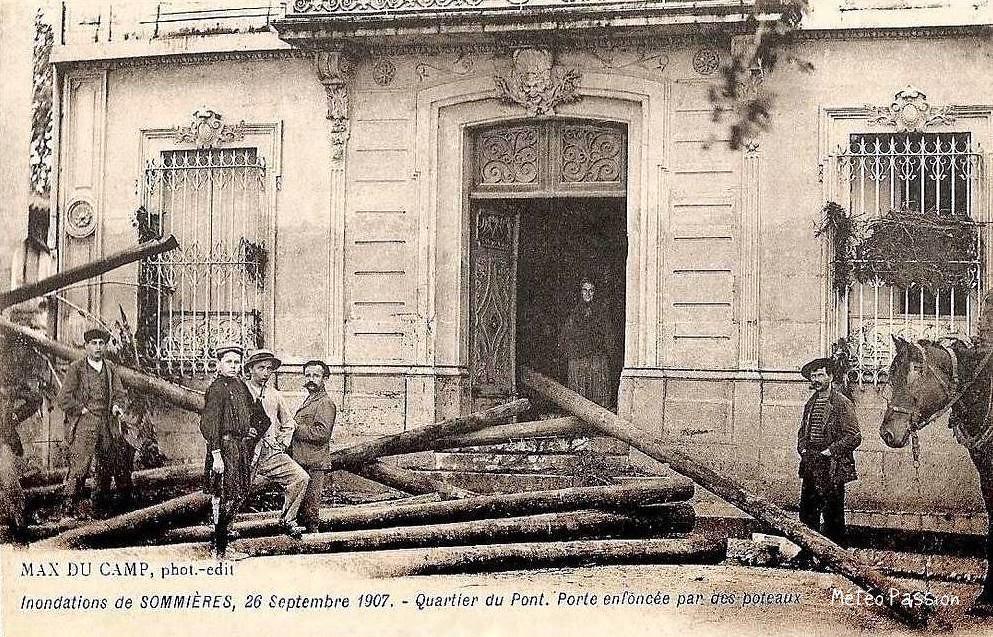 maison inondée à Sommières pendant la crue du 26 septembre 1907