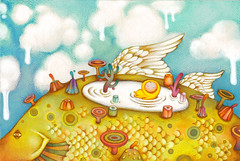 milk bath (.Pucky) Tags: sky baby fish strange angel clouds watercolor children fly milk duck wings bath drawing fantasy planet dreamy illustrator coloredpencils imaginary dripping flyingfish pucky childrensillustration pencilcrayons  puckyillustration puckyillustrationcom