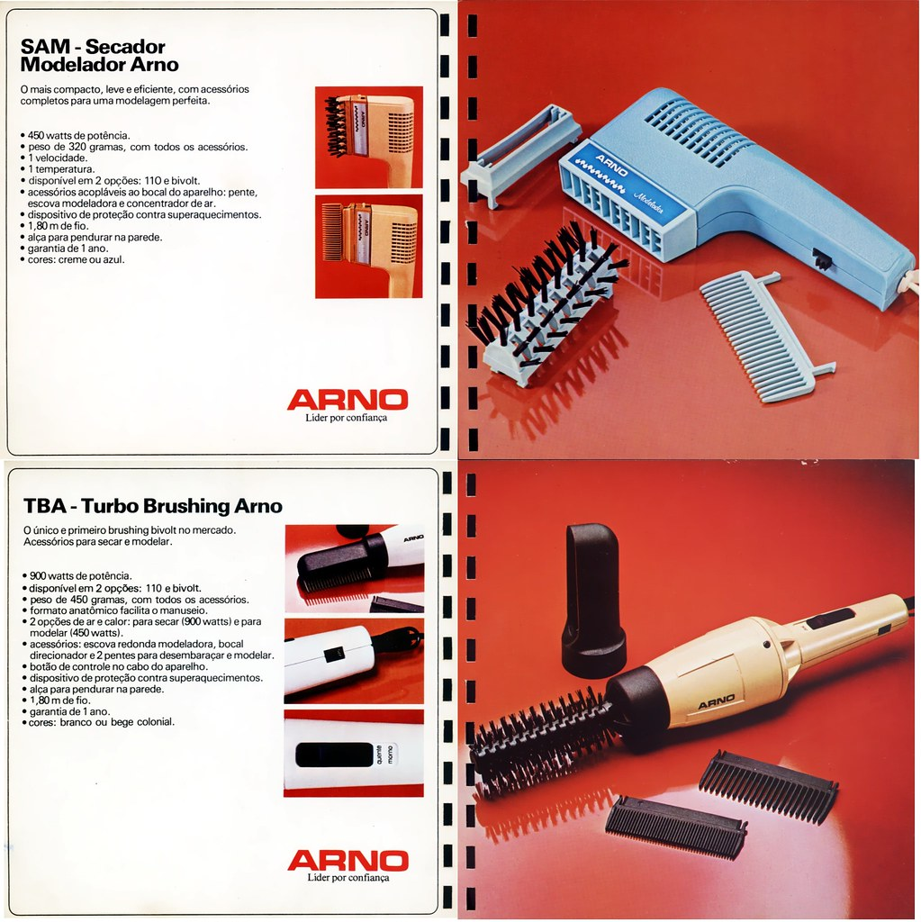 1984 Arno catalog 14 - hot comb and hot brush hair dryers