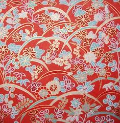 DSC09434 - Japanese hand-made paper (tengds) Tags: flowers red japanesepaper washi handmadepaper chiyogami yuzenwashi tengds