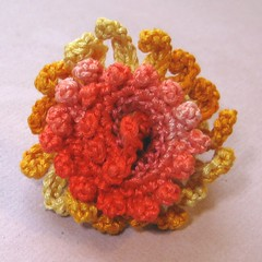 RAD 2010 #73 - Zinnia (KnittingGuru) Tags: pink rose yellow gold blossom oneofakind ring cotton threadcrochet naturalfibers knittingguru rad2010 ring73 crochetringflowers created42910