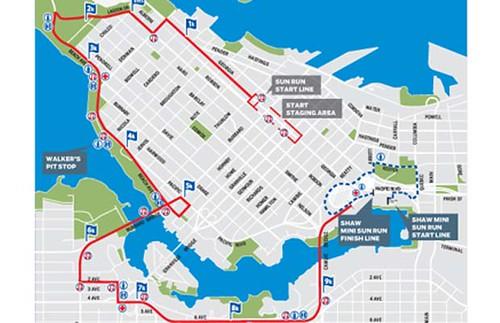 Vancouver Sun Run Route 2010