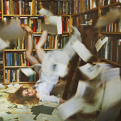 for molly (brookeshaden) Tags: motion pages library books bookstore falling explore bruise ladder interview frontpage bottlebellphotography brookeshaden ashleylebedev aldinebooks idefinitelydidntneedtoteasemyhairforthisphotoxx