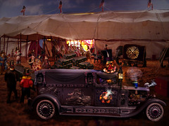 """The """"Clown Hearse"""" Act Was Short Lived (crowolf) Tags: fiction wisconsin photoshop vintage circus manipulation funeral morbid curiosities diorama baraboo manray circusworld fauxvintage fictitious svf strangevintagefictionsincolor crowolfiantomfoolery thecrawandloupebrotherscombinedshows clownhearse clownhearseact 54thcontestonmanrayredcar"""