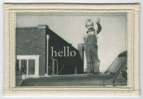 Hello - Old Photo Fabric Postcard