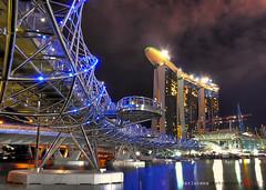 HELIX BRIDGE ( AFTER BLUE HOUR) (darwin (baeng)) Tags: bridge marina singapore helix sands
