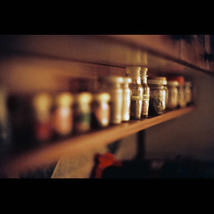 7th Army In The Kitchen (OverdeaR [donkey's talking monkey's nodding]) Tags: wood light film kitchen lights nikon warm fuji superia s scan f90 spices 200 spicy belgrade nikkor dim cinematic beograd available 5014 dimmed cousy nikkors50mmf14 50mmf14s