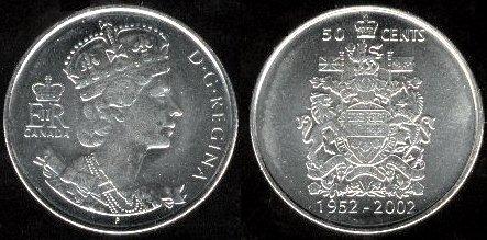 50 centov Kanada 2002, výročie korunovácie