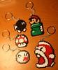 hama bead sprite keychains (jennpabon) Tags: mushroom keychain craft sprite mini mario bead 1up hama