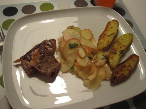 Lamb, Pink lady and basil salad, potatoes