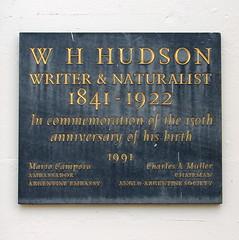 Photo of W. H. Hudson blue plaque